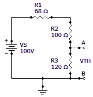 Find the Thevenin equivalent (VTH and RTH) between terminals A and B of the circuit given below