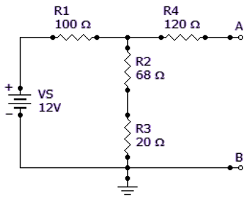 Find the Thevenin equivalent (VTH and RTH) between terminals A and B of the circuit given.