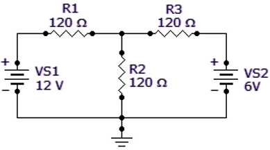 Find the current in R2 of the given circuit, using the superposition theorem.