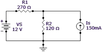 Find the current through R2 of the given circuit.