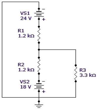 Find the total current through R3 in the given circuit.