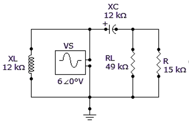 For the given circuit, find VTH for the circuit external to RL.