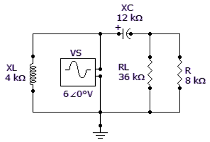 Referring to the given circuit, find ZTH if R is 15 kΩ and RL is 38 kΩ.