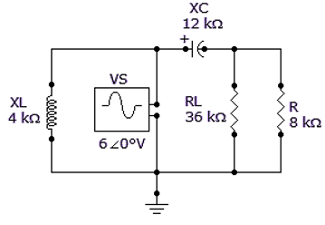 Referring to the given circuit, find ZTH if VS is 180° V.