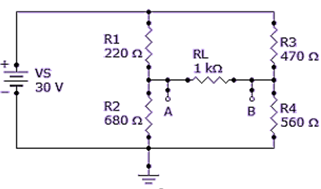 Referring to the given circuit, the voltage and current for the load resistor, RL, is