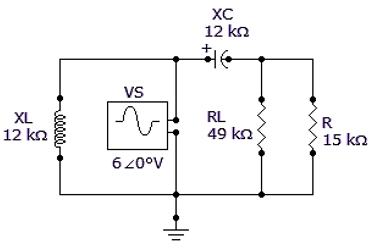 Referring to the given circuit, what is VTH if VS 12 ∠0° V